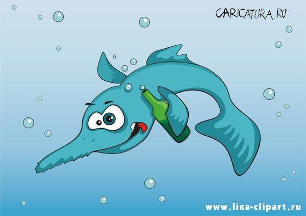"""карикатура  """"Рыба - пила """", LiKA; в подборке  """"Алкоголь и наркотики """"."""