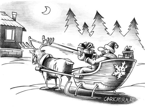 Новый год, Дед мороз, карикатура