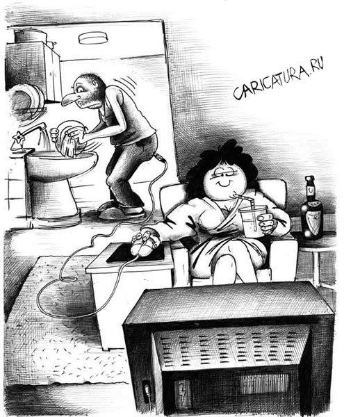 Картинки по запросу карикатура-муж моет посуду