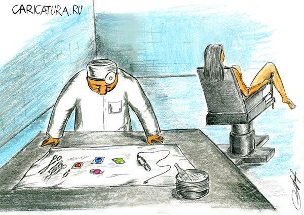 Карикатура На приеме, художник Олег Малянов. В своей авторской