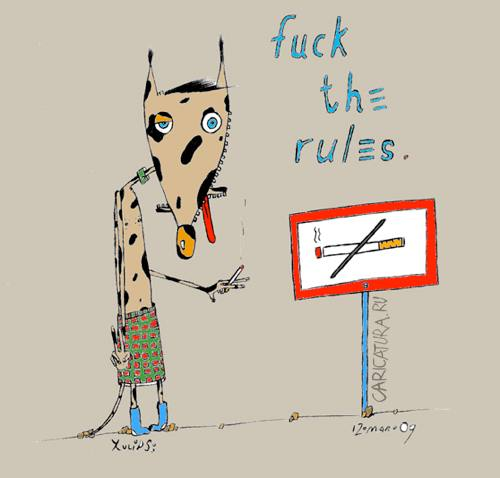 "Карикатура ""Fuck the rules"", Яна Тюльпанова"
